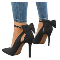 WOMENS POINTED TOE HIGH HEELS BACK ANKLE BUCKLE STRAP PUMPS SHOES